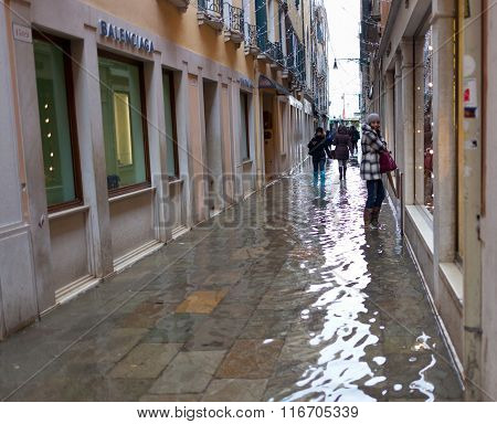 Alley In Venice With High Tide