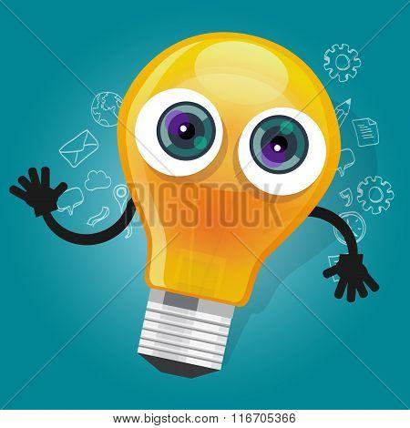 lamp bulb light cartoon character  mascot face vector illustration