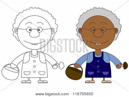 African Grandmother's Illustration With A Basket And Mushrooms