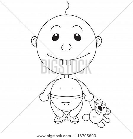 Illustration Of The Animation Pretty Boy With A Bear Toy