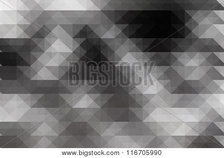 Low Poly Style / Triangular Shape Black And White Graphic Background