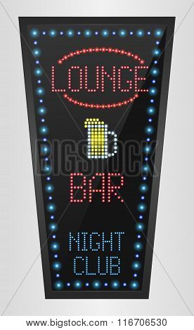 Retro arrow golden light banner with the lounge blue background