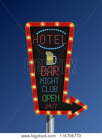 Retro arrow golden light banner with the hotel blue background