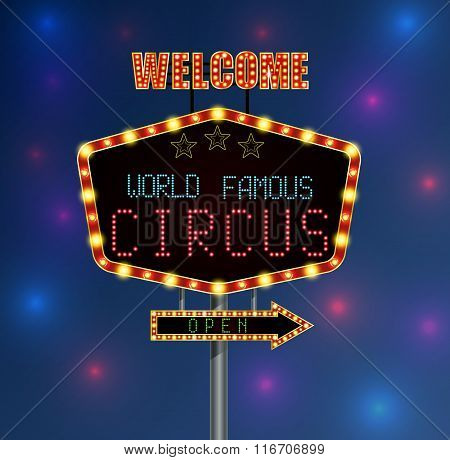Shining background retro light banner with the word circus