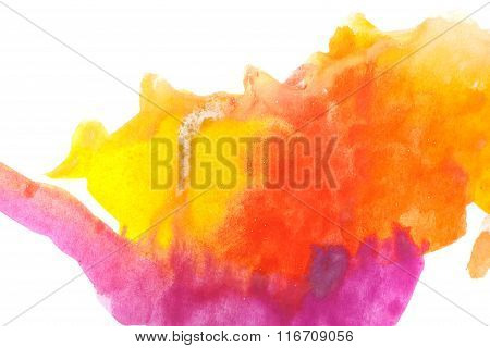 Watercolor Paint Abstract. Yellow Orange Magenta.
