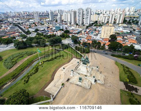 Aerial view of Independence Monument in Sao Paulo, Brazil