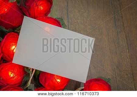 Red rose light  with card
