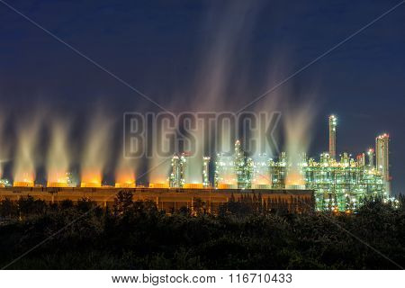 Steam Cooling Tower Of Oil Refinery Plant.
