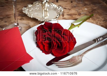 Place setting for Valentines day