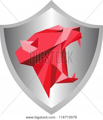 stock logo shield with brave tiger