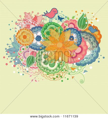 Cartoon Birds and Rainbow Colored Flowers