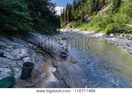 Gold Panning In The Alaska Range