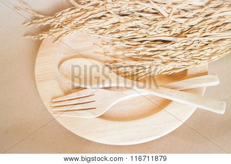 Wooden Dish Set And Paddy Rice