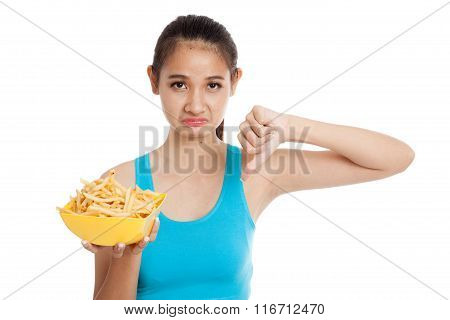 Asian Healthy Girl Thumbs Down With  French Fries
