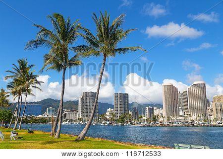 Waikiki beach resort and marina in Honolulu Hawaii USA.