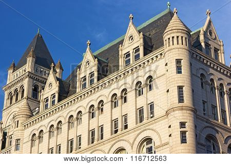Clock Tower of Old Post Office building in Washington DC, USA.