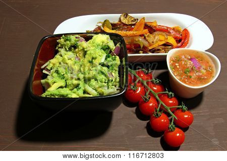 Roasted peppers, salsa and guacamole