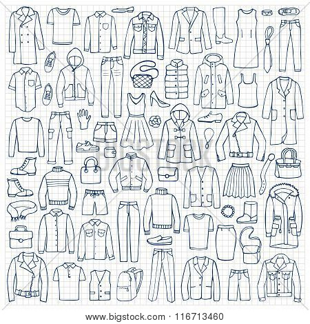 Hand drawn doodle set with man and woman clothes