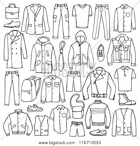Hand drawn doodle set with man clothes