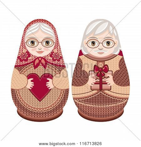 Matryoshka. Grandma and grandpa.