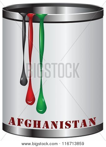 Symbolic Can With Colors Of Flag Of Afghanistan
