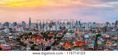 Panorama Of Bangkok Skyline At Sunset, Thailand.