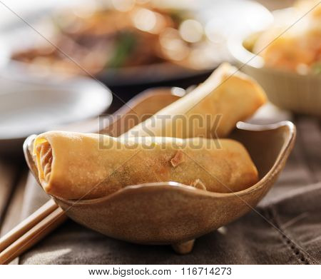 small bowl with two crispy egg rolls