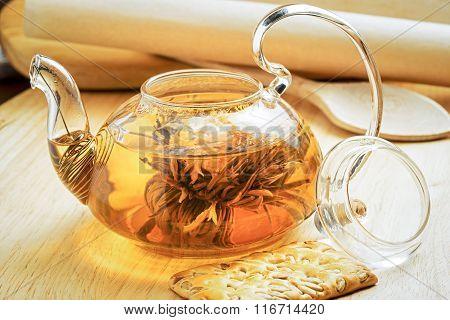 Tea Flower In A Transparent Teapot
