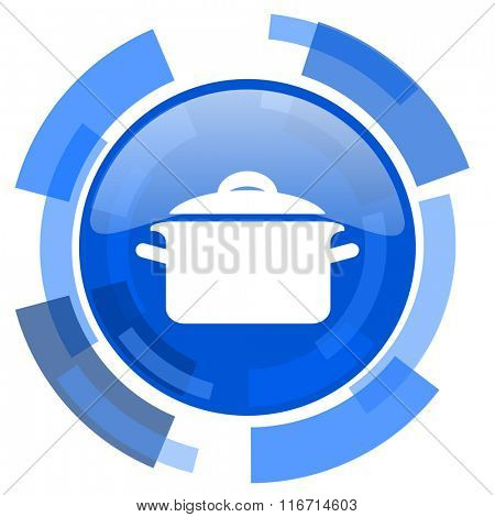 cook blue glossy circle modern web icon
