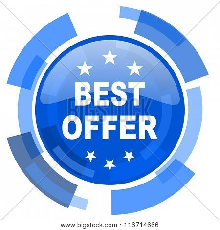 best offer blue glossy circle modern web icon