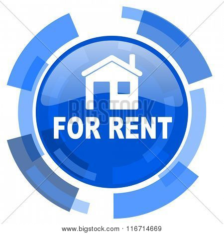 for rent blue glossy circle modern web icon