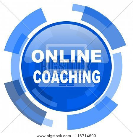 online coaching blue glossy circle modern web icon