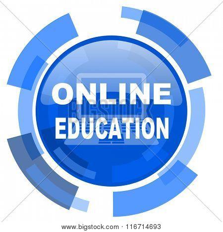 online education blue glossy circle modern web icon