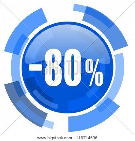 80 percent sale retail blue glossy circle modern web icon