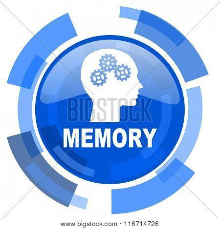 memory blue glossy circle modern web icon