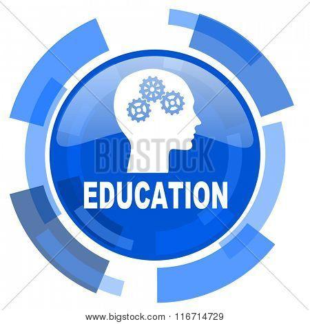 education blue glossy circle modern web icon