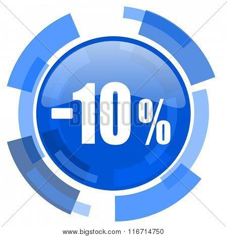 10 percent sale retail blue glossy circle modern web icon