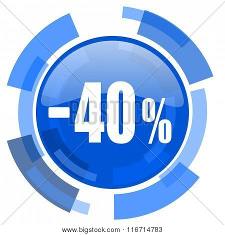40 percent sale retail blue glossy circle modern web icon