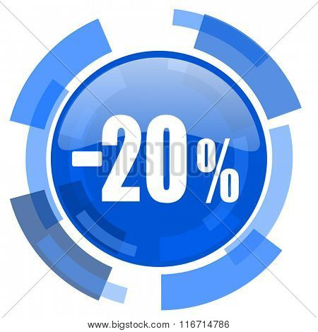 20 percent sale retail blue glossy circle modern web icon