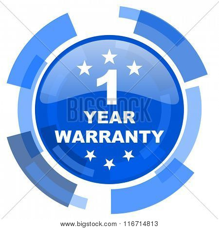 warranty guarantee 1 year blue glossy circle modern web icon