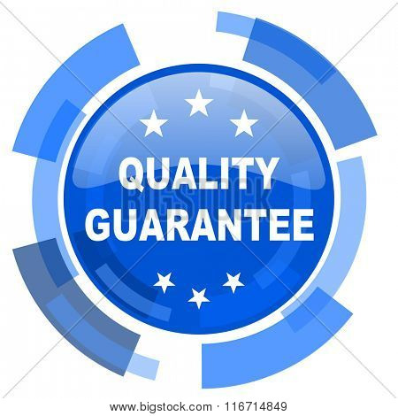 quality guarantee blue glossy circle modern web icon