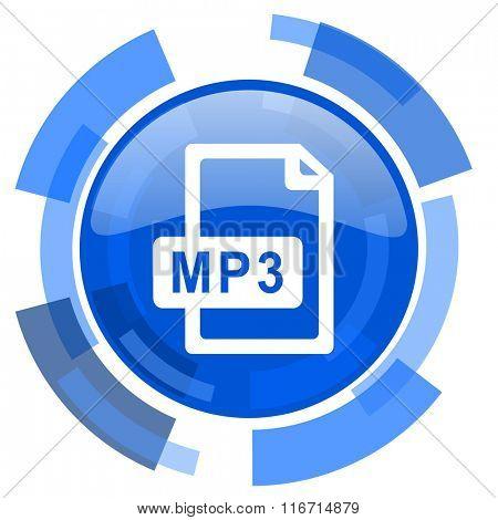 mp3 file blue glossy circle modern web icon