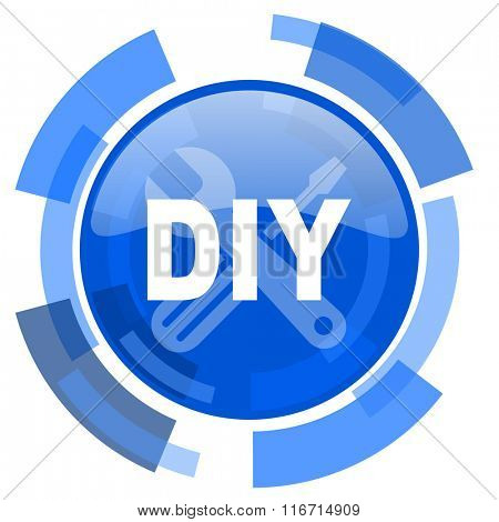 diy blue glossy circle modern web icon