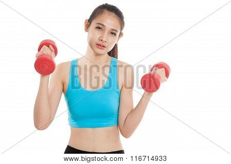 Tired Asian Healthy Girl Exercise With Dumbbell