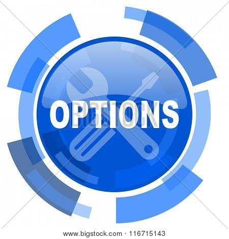 options blue glossy circle modern web icon