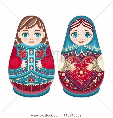 Matryoshka. Babushka doll. Boy and girl.