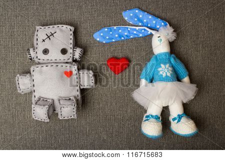 Robot  and Bunny. Soft Toys.