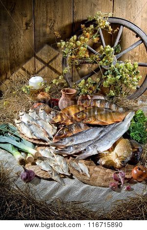 Still Life With Fish In Retro Style