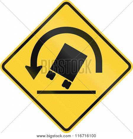United States Mutcd Warning Road Sign - Trucks May Tip Over