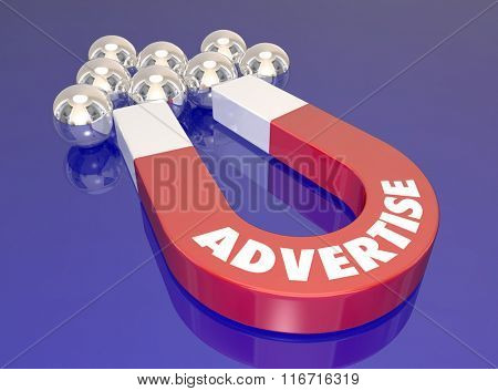 Advertise word on a 3d magnet pulling shiny ball bearings toward it to illustrate the power of information sharing through marketing communications to find or lure new customers and prospects